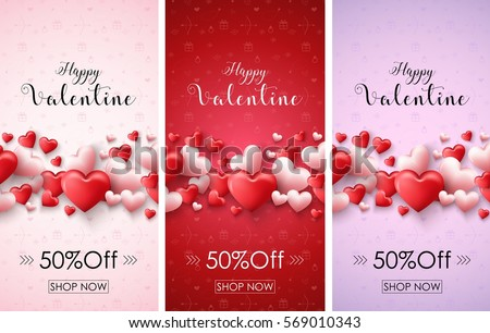 Vector Illustration Valentines Day Sale Banners Stock Vector