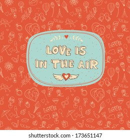 Vector illustration of Valentine's Day seamless pattern with place for your text message