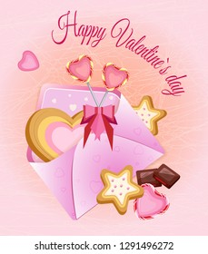 Vector illustration for Valentine's day. Sweets and envelope with heart-shaped cookies. On a gentle gradient background with a contour web