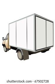 Vector illustration of van under the white background