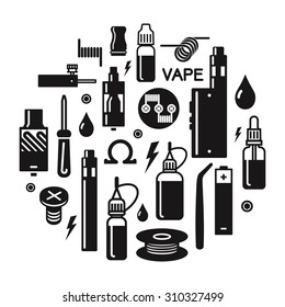 Vector illustration of vape. Blak print on white background. Illustration of electronic cigarette. Vape trend.