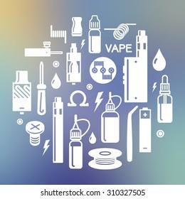 Vector illustration of vape on blurred background