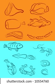 a vector illustration for a variety of meats in artistic outline