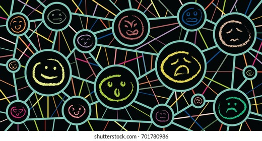 vector illustration for variety of moods for personality types and reactions concepts in connected circles design