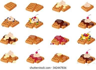 Vector illustration of various American waffles.
