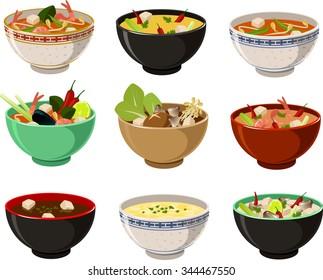 Vector illustration of various asian soups.