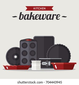 Vector illustration of various bake ware. Flat style.