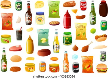 Vector illustration of various BBQ food items.