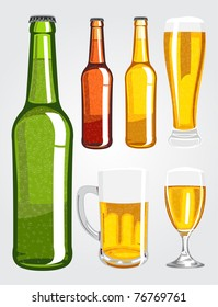 Vector illustration of various beer bottles and glasses