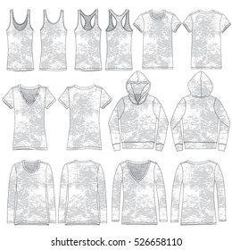 Vector Illustration of various burnout style garments.