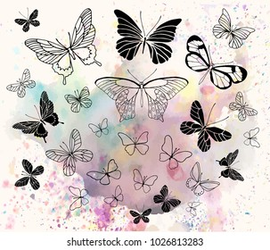 Vector illustration. Various butterflies on watercolor style background. Vector butterflies set. Pen style vector objects.