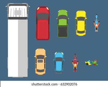 Vector illustration of various cars, view from top
