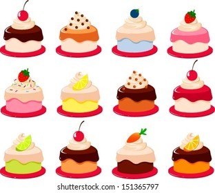 Vector illustration of various cartoon style pieces of cake.
