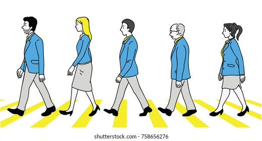 Vector illustration various character, full length of teamwork, businesspeople, man and woman, walking crossing street, side view. Outline, linear, thin line art, doodle, hand drawn sketch design.
