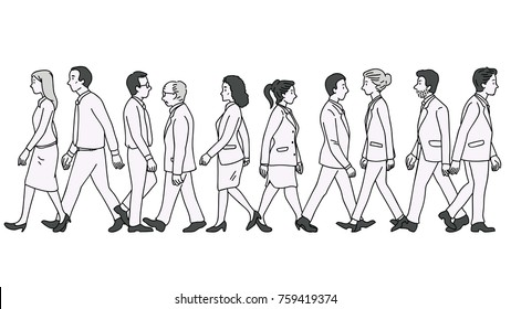 Vector illustration various character of full length businesspeople, man and woman, walking as pedestrian across street, diversity, multi-ethnic, side view. Outline, linear, thin line art design.