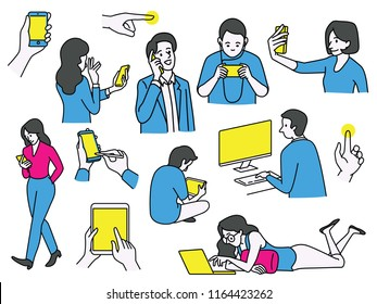 Vector illustration various character of people using technology communication gadget, computer, laptop, smartphone, digital tablet, and acitivities. Outline, linear, thin line art style.