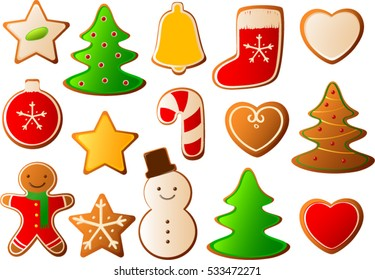 Vector illustration of various Christmas cookies with colorful icing.