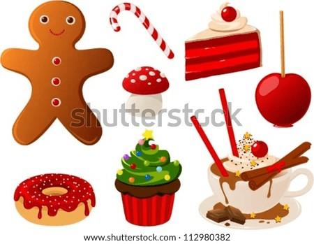 Vector Illustration Various Christmas Food Items Stock Vector