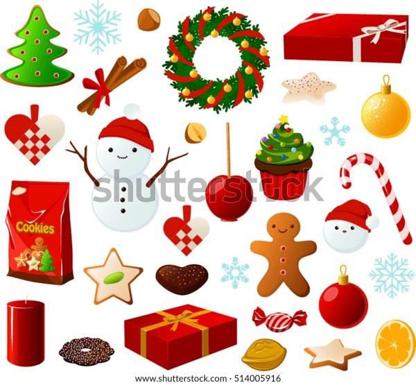 Christmas Items.Vector Illustration Various Christmas Items Stock Vector