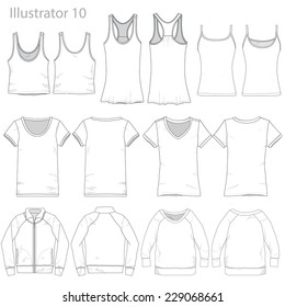 Vector Illustration of Various Clothing Garments.