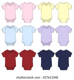 Vector Illustration of various colored baby onesies.