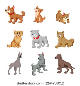 vector illustration of various cute dogs