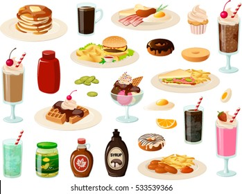 Vector illustration of various diner food items.
