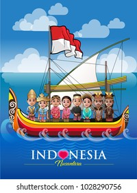 Vector illustration, various ethnic and cultural archipelago in one ship named Indonesia.