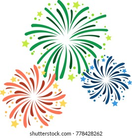Vector illustration of various fireworks on New Year's Eve.