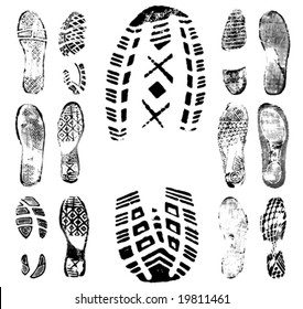Vector illustration of various footprint shoeprint traces. Collection number 1.