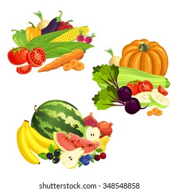 Vector illustration of various fruit, berry and vegetables isolated on white background