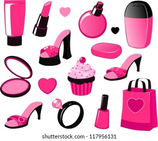 Vector illustration of various girly beauty and fashion items in black and pink isolated on white.