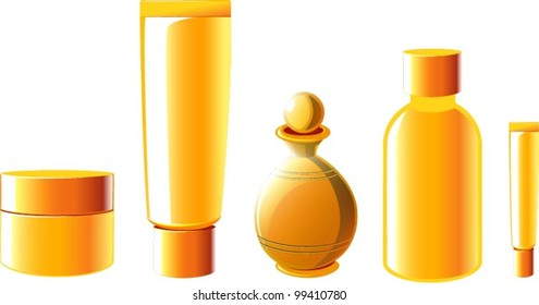 Vector illustration of various golden beauty products.