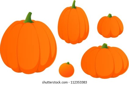 Vector illustration of various halloween pumpkins.