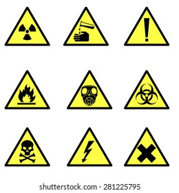 A vector illustration of various hazard icon signs. Warning hazard icon illustrations. Universal symbols for hazards.