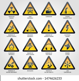 Vector illustration of various hazard signs collection.