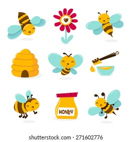 A vector illustration of various honey bee theme characters and icons.