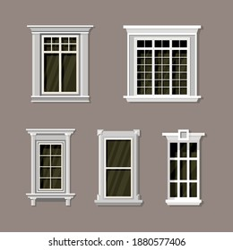 Vector illustration of various house window designs set. Suitable for the design elements of an elegant classic building. External view of the template window frame collection.