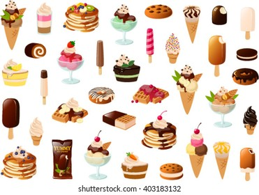 Vector illustration of various ice creams and cakes.