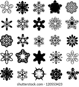 Vector illustration of various ice crystals.
