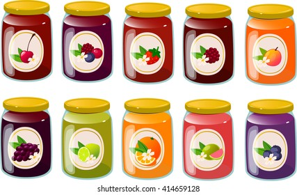 Vector illustration of various jams and jellies.