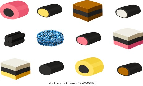 Vector illustration of various kinds of British licorice.