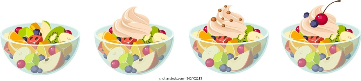 Vector illustration of various kinds of fruit salads.