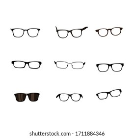 vector illustration. various kinds of glasses.