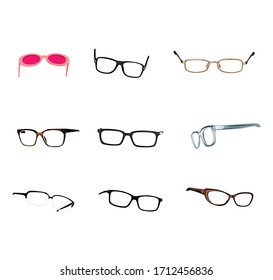 vector illustration. various kinds of glasses.