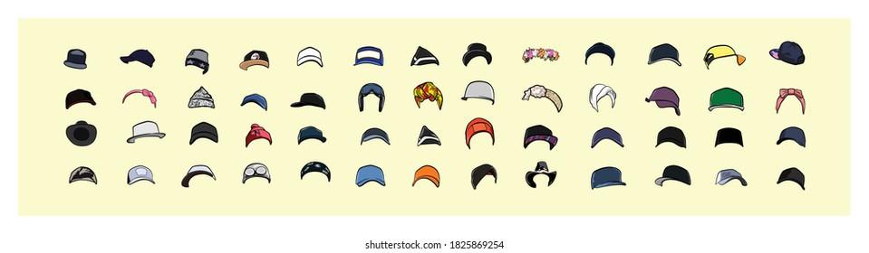 Vector illustration of various kinds of hat models. - Shutterstock ID 1825869254