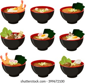 Vector illustration of various kinds of japanese noodle soups.