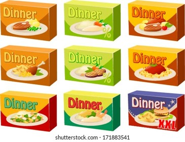 Vector illustration of  various kinds of microwave dinners.