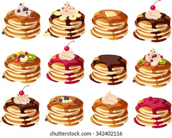 Vector illustration of various kinds of pancakes.