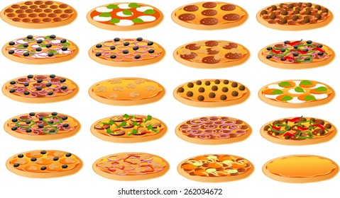 Vector illustration of various kinds of pizza.